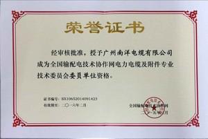 全国输配电技术协作网电力电缆及附件专业技术委员会委员单位资格荣誉证书.jpg